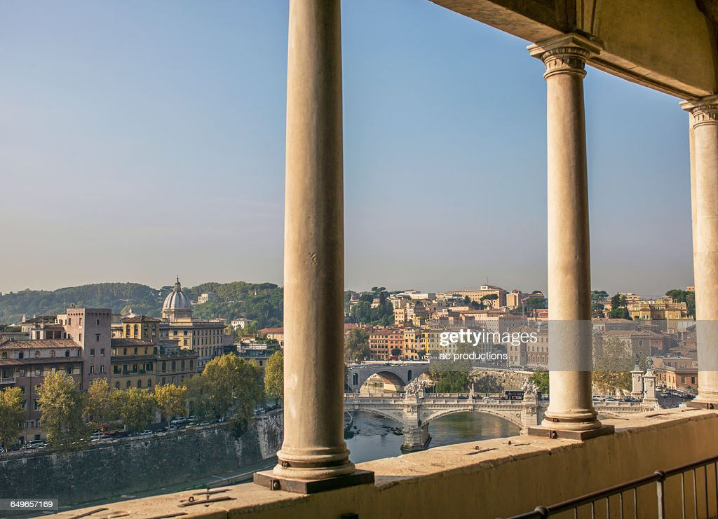 Balcony overlooking rome cityscape lazio italy stock photo for Balcony overlooking city