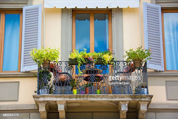 Balcony with flowers on June 16 2015 in Florence Italy
