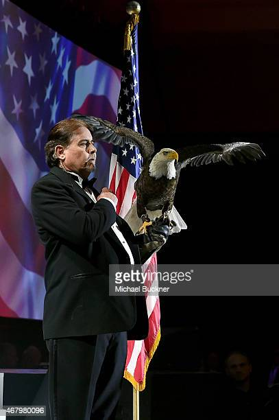 A bald eagle is seen onstage during Muhammad Ali's Celebrity Fight Night XXI at the Jw Marriott Phoenix Desert Ridge Resort Spa on March 28 2015 in...
