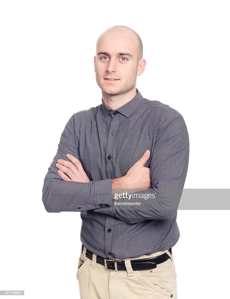 Bald executive business man on white