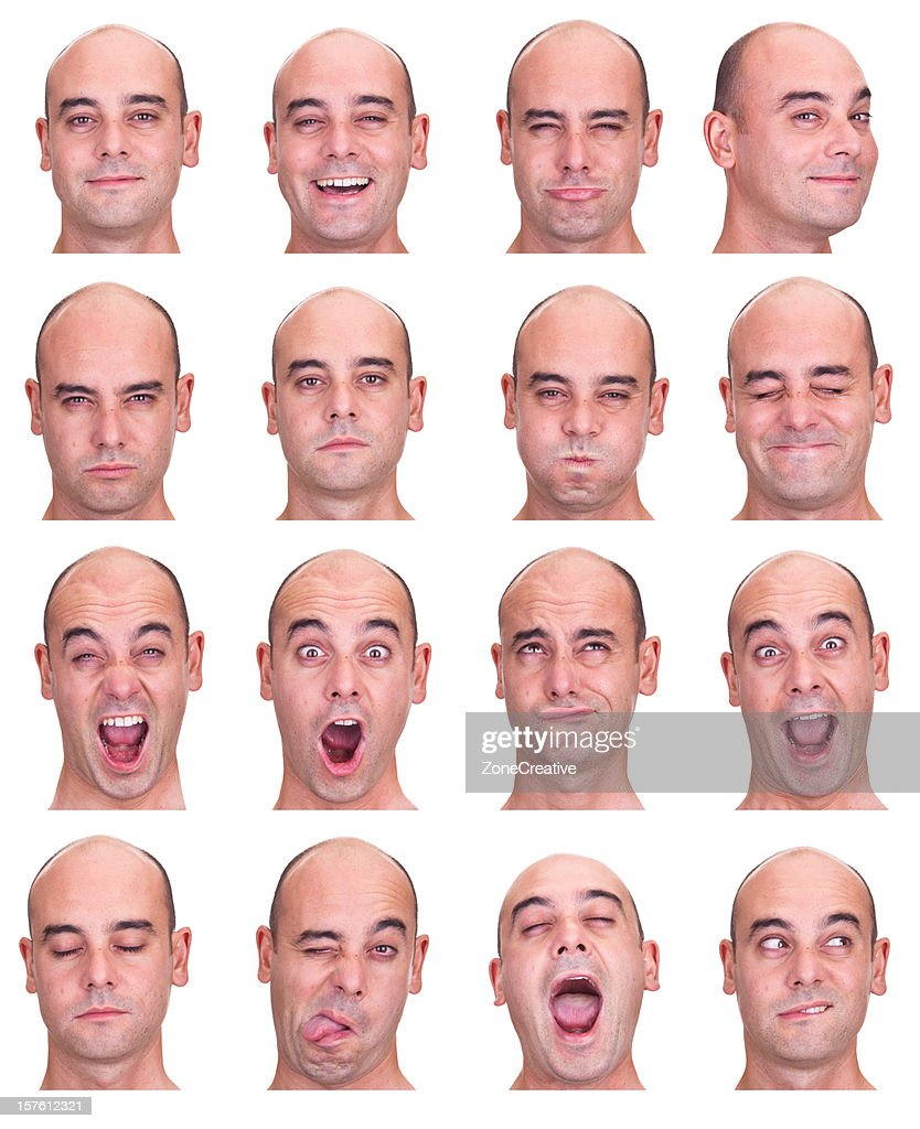 bald eye socket man emotion expression collection set white isol