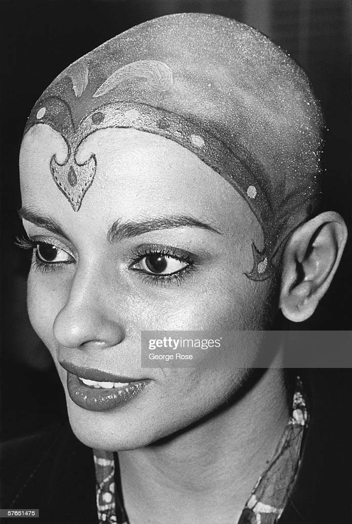 Bald, Indian actress and star of the original Star Trek - The Movie, Persis Khambatta, sports a henna head tatoo on the red carpet of the movie's 1979 premiere in Beverly Hills, California.
