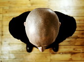 Bald man, overhead view