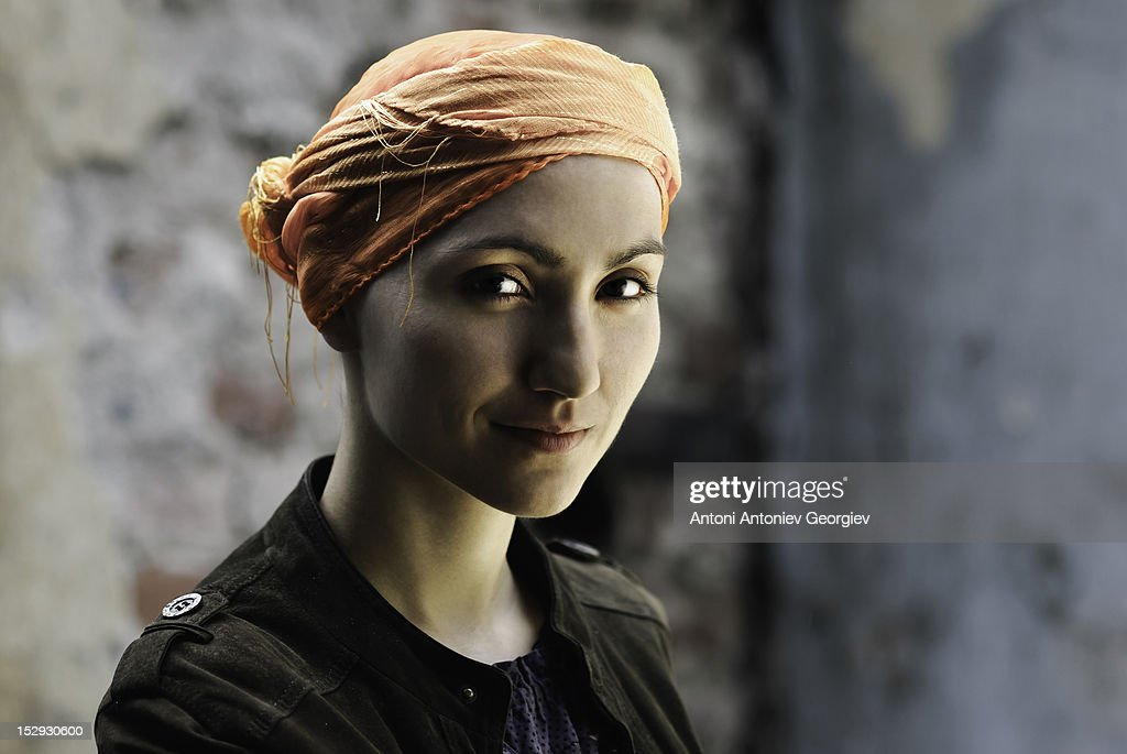 Bald woman with scarf : Stock Photo