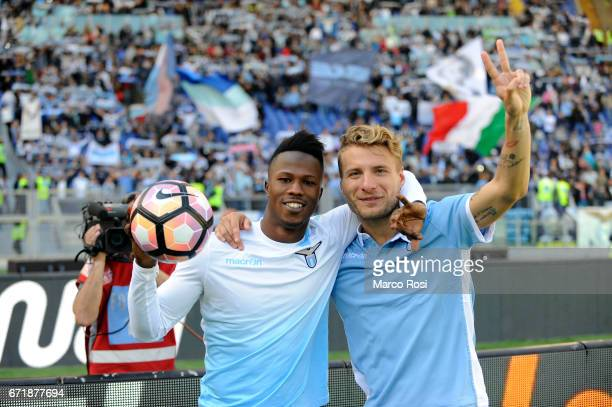 Balde Diao Keita and Ciro Immobile of SS Lazio celebrates a winner game after the Serie A match between SS Lazio and US Citta di Palermo at Stadio...