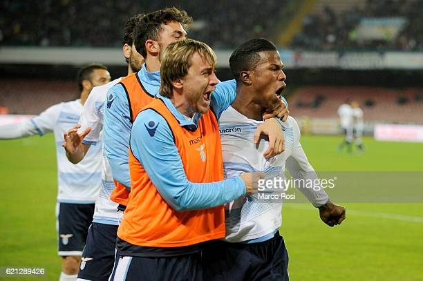 Balde Diao Keita his team mates of SS lazio cewilebrates after scoring the opening goal of SS Lazio during the Serie A match between SSC Napoli and...