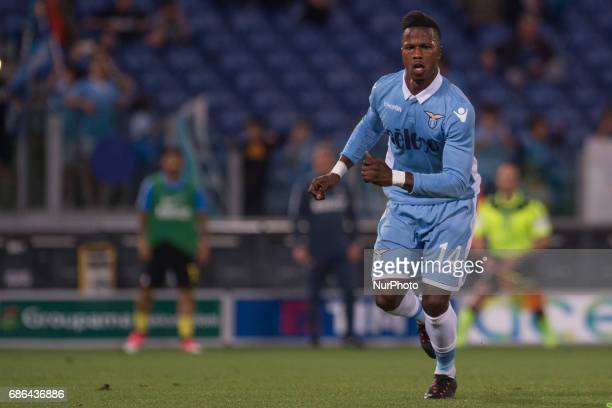 Balde Diao Keita of Lazio celebrates scoring first goal with a penalty kick during the Serie A match between Lazio v Internazionale on May 21 2017 in...