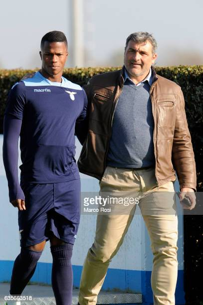 Balde Diao Keita of SS lazio and SS Lazio Club manager Angelo Peruzzi during their Training Session on February 16 2017 in Rome Italy