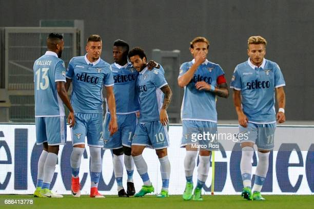 Balde Diao Keita of SS Lazio celebrates a opening goal during the Serie A match between SS Lazio and FC Internazionale at Stadio Olimpico on May 21...