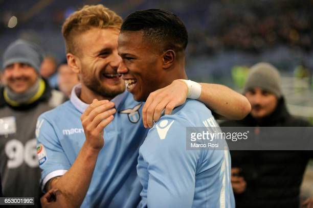 Balde Diao Keita of SS Lazio celebrates a second goal during the Serie A match between SS Lazio and FC Torino at Stadio Olimpico on March 13 2017 in...