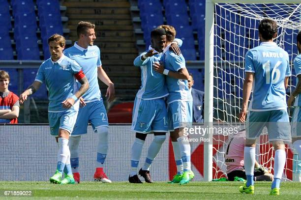 Balde Diao Keita of SS Lazio celebrates a third goal a penalty with team mates during the Serie A match between SS Lazio and US Citta di Palermo at...