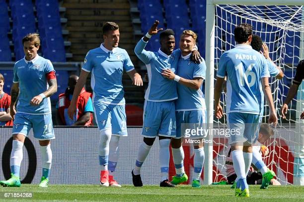 Balde Diao Keita of SS Lazio celebrates a third goal with team mates during the Serie A match between SS Lazio and US Citta di Palermo at Stadio...