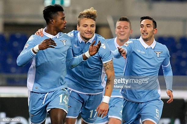 Balde Diao Keita of SS Lazio celebrates the opening goal during the Serie A match between SS Lazio and ACF Fiorentina at Stadio Olimpico on December...
