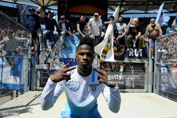 Balde Diao Keita of SS Lazio celebrates their victory after the Serie A match between AS Roma and SS Lazio at Stadio Olimpico on April 30 2017 in...