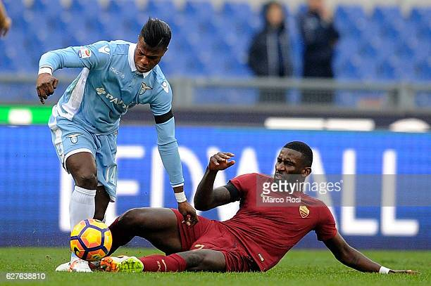 Balde Diao Keita of SS Lazio compete for the ball with Antonio Rudiger of AS Roma during the Serie A match between SS Lazio and AS Roma at Stadio...