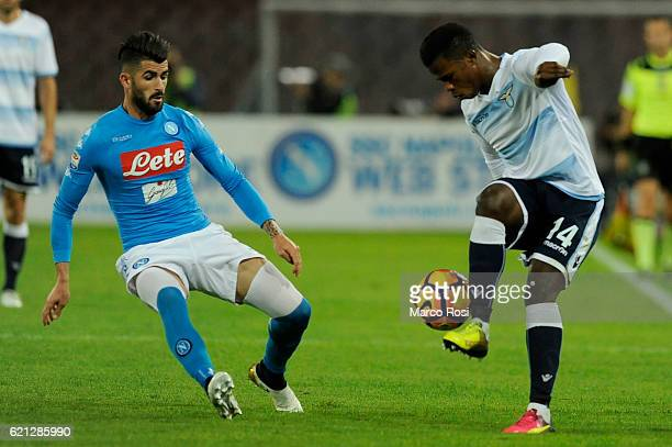 Balde Diao Keita of SS Lazio compete for the ball with Elesied Hysaj of SSC Napoli during the Serie A match between SSC Napoli and SS Lazio at Stadio...