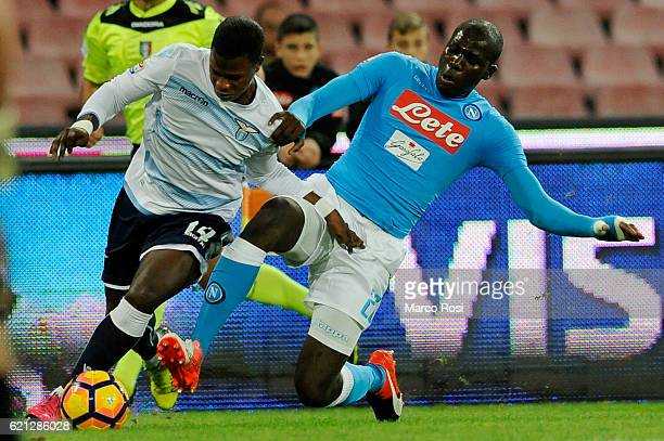 Balde Diao Keita of SS Lazio compete for the ball with Kalidou Koulibaly during the Serie A match between SSC Napoli and SS Lazio at Stadio San Paolo...