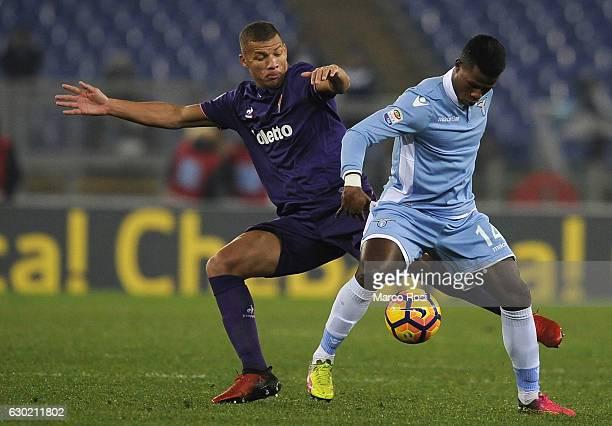Balde Diao Keita of SS Lazio compete for the ball with Sebastien De Maio ACF Fiorentina during the Serie A match between SS Lazio and ACF Fiorentina...