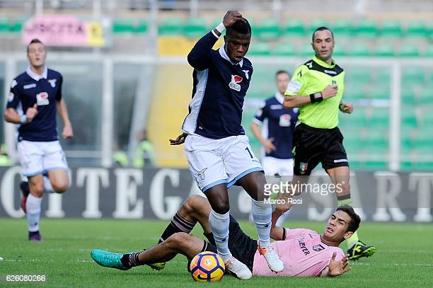 Balde Diao Keita of SS Lazio competes for the ball with Ivaylo Chochev of US Citta di Palermo during the Serie A match between US Citta di Palermo...