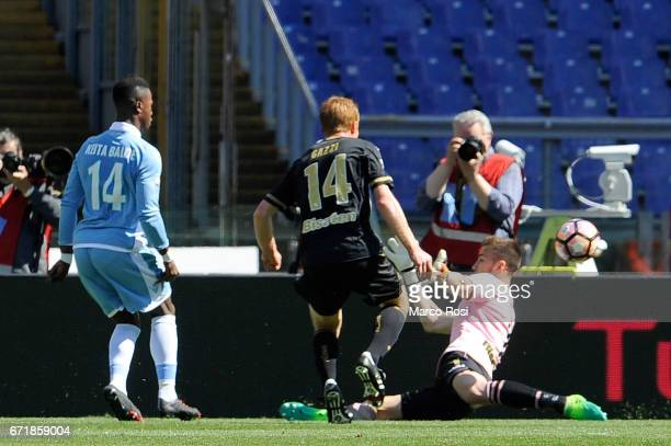Balde Diao Keita of SS Lazio scores a fourth during the Serie A match between SS Lazio and US Citta di Palermo at Stadio Olimpico on April 23 2017 in...