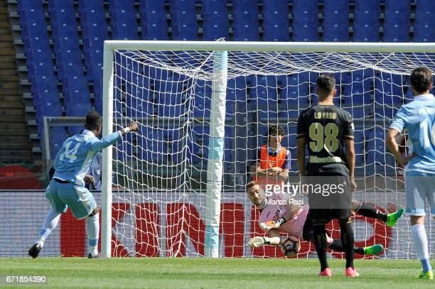 Balde Diao Keita of SS Lazio scores a third goal a penalty during the Serie A match between SS Lazio and US Citta di Palermo at Stadio Olimpico on...