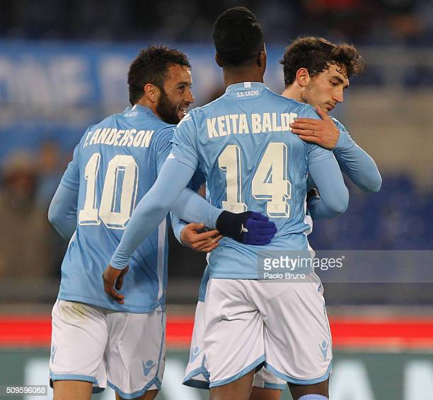 Balde Diao Keita with his teammates Felipe Anderson and Danilo Cataldi of SS Lazio celebrates after scoring the team's fourth goal during the Serie A...