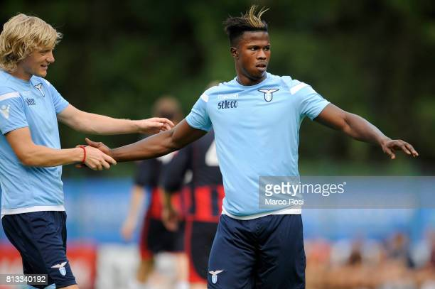 Balde Diao Keta of SS Lazio celebrates a goal with Dusan Basta of SS Lazio during the preseason friendly match between SS Lazio and Auronzo Di Cadore...