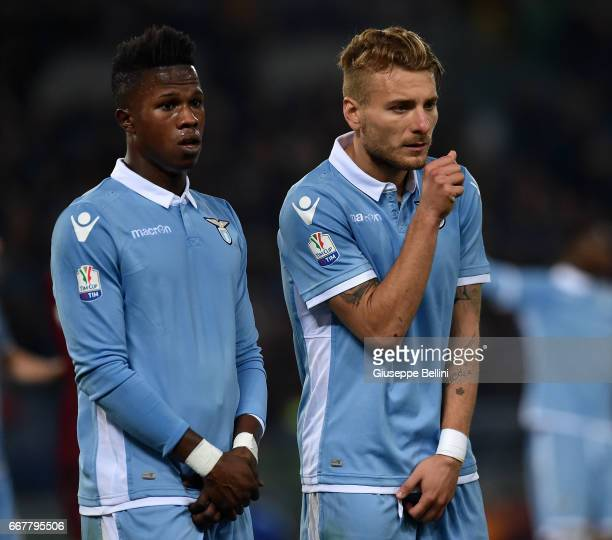 Balde Keita and Ciro Immobile of SS Lazio in action during the TIM Cup match between AS Roma and SS Lazio at Stadio Olimpico on April 4 2017 in Rome...