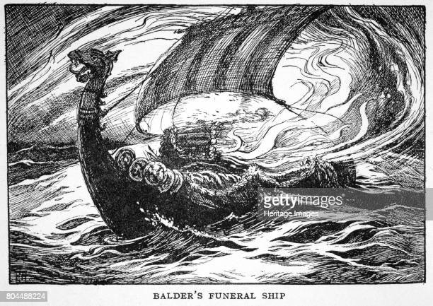 Balder's Funeral Ship' 1925 Balder is a Norse god associated with light and beauty From The Book of Myths by Amy Cruse 1925