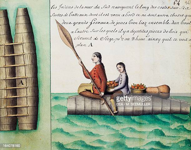 Balds traditional boats used by natives watercolour from Periple de Beauchesne a la Terre de Feu 16981701 une expedition mandatee par Louis XIV South...