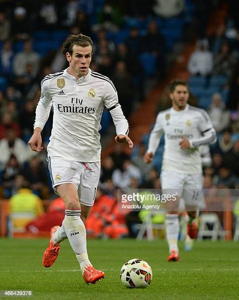Bale of Real Madrid is in action during the La Liga match between Real Madrid and Levante at Estadio Santiago Bernabeu in Madrid Spain on March 15...