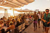 Balearic Islands - sunset time along the promenade of cafe del Mar