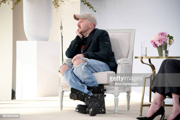 Balenciaga Creative Director Demna Gvasalia speaks onstage during Vogue's Forces of Fashion Conference at Milk Studios on October 12 2017 in New York...