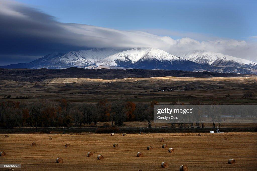 BOZEMAN MONTANA – Bales iof hay dot the landscape along Interstate 95 between Billings and Bozeman Montana