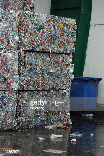 bales of aluminum cans at recycling center