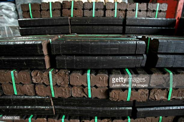 Bales of Peat Briquettes in Ahern Fuels in Urlingford CoKilkenny on Budget day when the Government has signalled it will introduce a carbon tax...