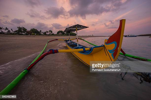 Bali boat in the morning at Kuta beach