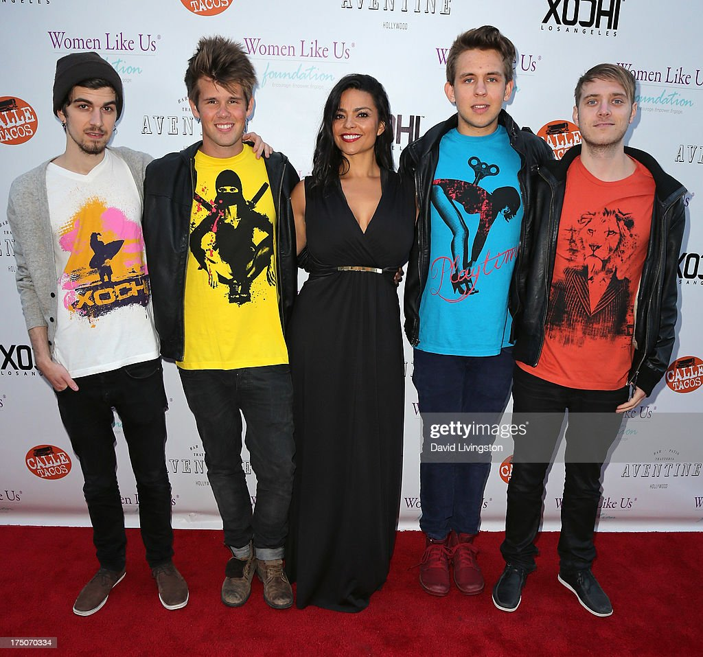Bali Harko and Robin Hedlund of Second Nature, designer Xochitl Medina and John Erik Bergamini and Kris Piersson of Second Nature attend the One Girl At A Time fundraiser at Aventine Hollywood on July 30, 2013 in Hollywood, California.
