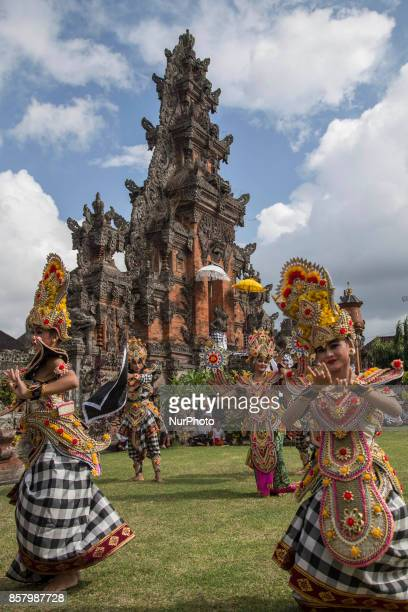 Bali traditional dance before the event start Siat Tipat Traditional Event at Bali held to celebrate full moon calendar at BadungBali and also for...