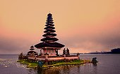 Bali temple at sunset