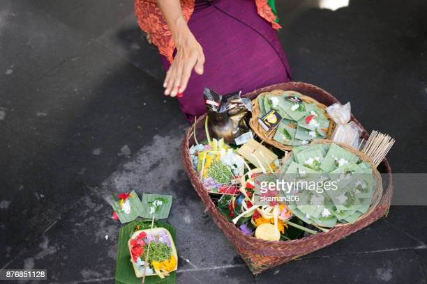balinese and hindu people come to market and buy offering for the god on April 10, 2017 in Bali, Indonesia.