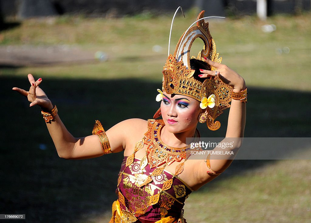 A Balinese dancer participate in official ceremonies and games marking Indonesia's 68th Independence day at Kerobokan prison in Denpasar on Indonesia resort island of Bali on August 17, 2013, where authorities proposes grant sentence remission to deserving prisoners. Kerobokan prison, located in Indonesia's resort island of Bali is the jail for locals and foreigners.
