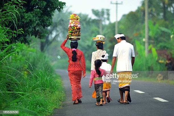 Balinese family on the road
