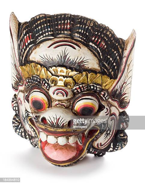 Balinese Hindu Barong mask isolated on a white background