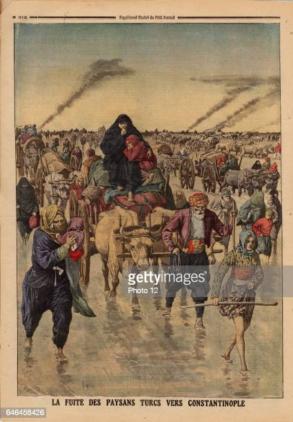 Flight of Turkish peasants towards Constantinople From 'Le Petit Journal' Paris 24 November 1912