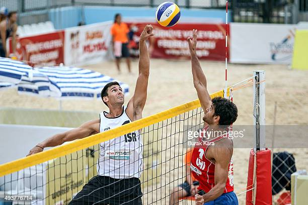 Ball action over the net between Israel and Chile during the 3rd day of the FIVB Antalya Open beach volley tournament October 22 in the Mediterranian...