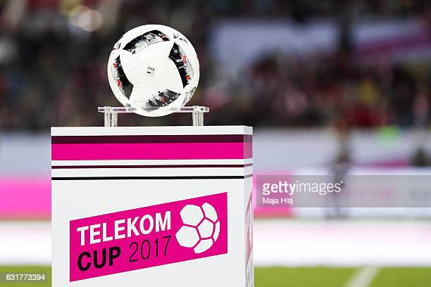 Ball and a Telekom Cup logo are seen prior the Telekom Cup 2017 match between Fortuna Duesseldorf and Bayern Muenchen at EspritArena on January 14...