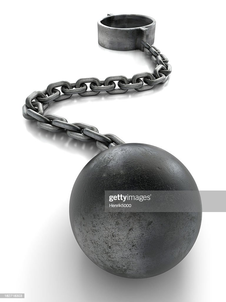'Ball and chain, isolated with clipping path'