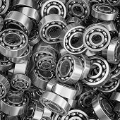 metal ball bearings heap directly above view.