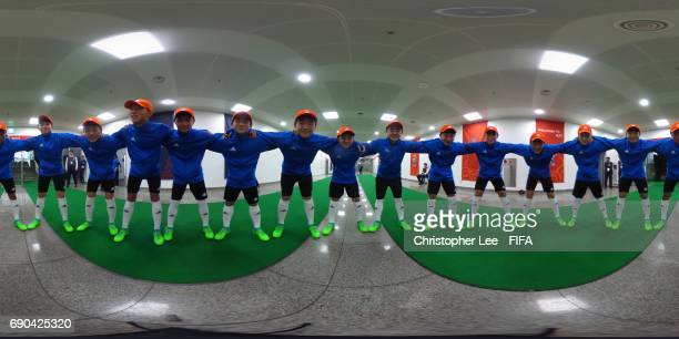Ball boys pose for a photo prior to the FIFA U20 World Cup Korea Republic 2017 Round of 16 match between Zambia and Germany at Jeju World Cup Stadium...